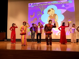 International students dancing to popular Vietnamese songs