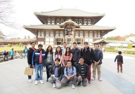 In front of  Daibutsu-den at Todaiji Temple