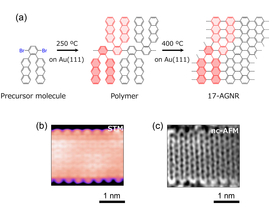 (a) Bottom-up synthesis scheme of 17-AGNR on Au(111), (b) high-resolution STM image, and (c) nc-AFM image of 17-AGNR.